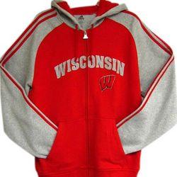 Wisconsin Mens Full Zip Hoodie
