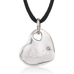 Initial Sterling Silver Heart Necklace on a Silk Cord