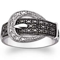 Sterling Silver Black and White Buckle Diamond Accent Ring