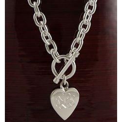"Heavy 18"" Necklace with Personalized Heart Pendant"