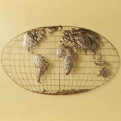 Gold-Brushed World Map Wall Art