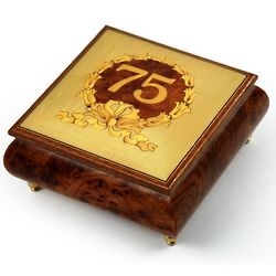 Handcrafted 22 Note 75th Birthday Music Box