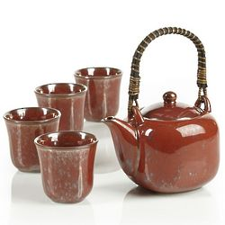 Square Reactive Red Teapot Set