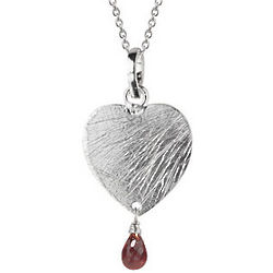 Sterling Silver and Garnet Heart Pendant