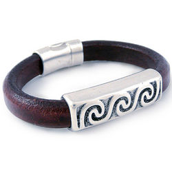 Unisex Pewter Wave Leather Bracelet