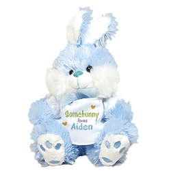 Personalized Somebunny Loves Me Blue Bunny