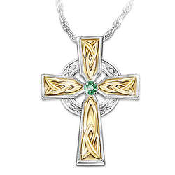 Celtic Cross Emerald Solitaire Pendant with Irish Blessing