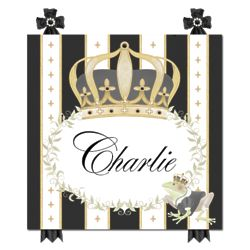 Personalized Posh Prince Crown Plaque in Black