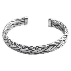 Men's Flowing Water Sterling Silver Cuff Bracelet