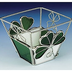 Stained Glass Irish Votive with Shamrocks