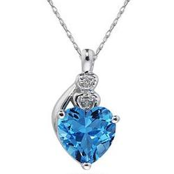 Blue Topaz & Diamond Heart Pendant in White Gold