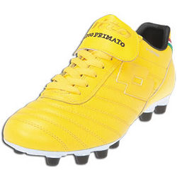 Men's Yellow and Black Leather Soccer Shoes