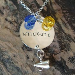 Personalized Cheerleader Hand Stamped Necklace in Sterling Silver