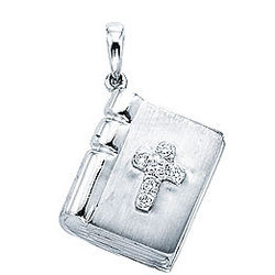 14k White Gold Diamond 3D Cross Bible Bracelet Charm