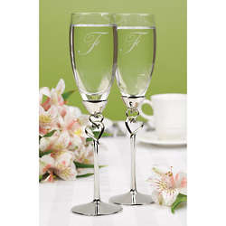 Entwined Hearts Champagne Flutes