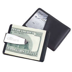 Personalized Silver Money Clip with Leather Pocket