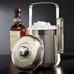 Cool as Ice White Satin Ice Bucket with Tongs
