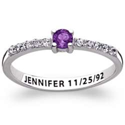 Sterling Silver Cubic Zirconia and Birthstone Ring