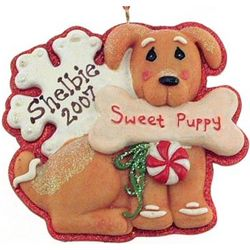 Sweet Puppy Engravable Resin Christmas Ornament