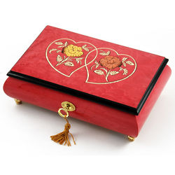 Red Wine Double Heart and Floral Inlay Musical Jewelry Box