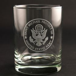St. Michael Protect Us Army Old Fashioned Glasses