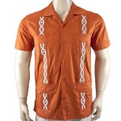 Burnt Orange Cotton Guayabera Shirt