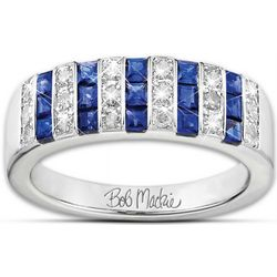 Bob Mackie Diamonesk Simulated Diamond and Created Sapphire Ring