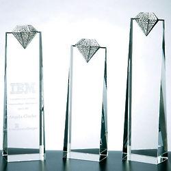 "Luxury Diamond 8.25"" Crystal Tower Award"