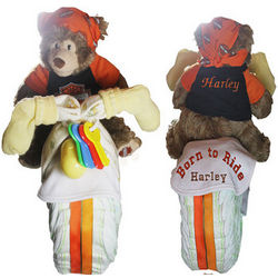 Personalized Harley Davidson Diaper Cake with Bear