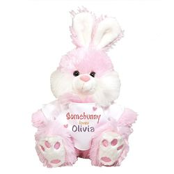 Personalized Somebunny Loves Me Pink Bunny Stuffed Animal