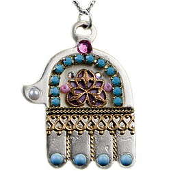 Hamsa Necklace Inlaid with Swarovski Crystals