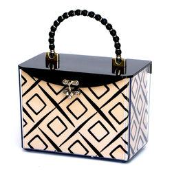 Black Beaded Handle Handbag
