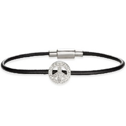 Black Leather Bracelet with Diamond Peace Sign