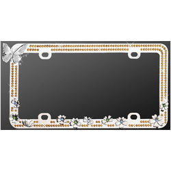 Chrome Butterfly Gold Diamond License Plate Frame
