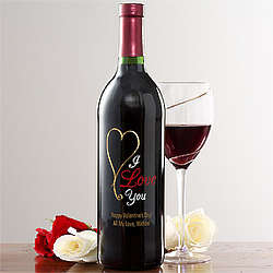 Heart Personalized Wine Bottle