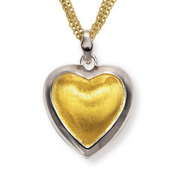 Gold over Sterling Silver Two-Tone Heart Shaped Pendant