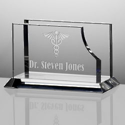 Personalized Crystal Desktop Business Card Holder for Doctors