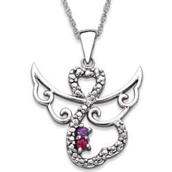 Sterling Silver Couple's Birthstone Diamond Accent Angel Necklace