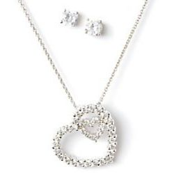 Double Hearts Silver Plated Necklace and Earring Set