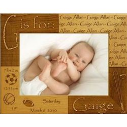 Wooden Personalized Baby Sports Frame