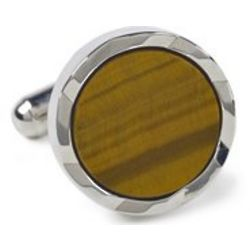 Tiger's Eye Beveled Edge Cufflinks