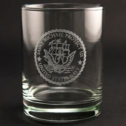 St. Michael Protect Us Navy Old Fashioned Glasses