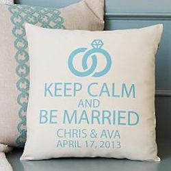 Personalized Keep Calm and Be Married Pillow