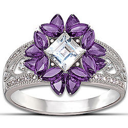 Amethyst and Topaz Twilight Lavender Ring