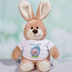 Happy Easter Bunny Stuffed Animal in Custom Photo T-Shirt