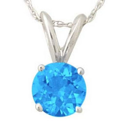 All-Natural Round Blue Topaz Pendant Set in 14k White Gold