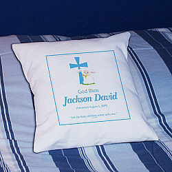 God Bless Christening Baby Boy Personalized Throw Pillow