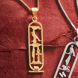 Personalized Egyptian Cartouche Pendant in Gold