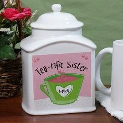 Personalized Ceramic Tea-rific Sister Tea Jar