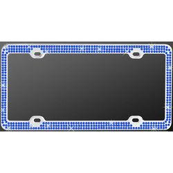 Chrome Triple Blue Diamond License Plate Frame